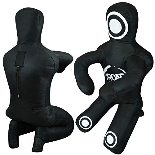 Roar Brazilian Jiu Jitsu Grappling Dummy MMA Wrestling Bag Judo Martial Arts Unfield (Black-Bend, 6FT)