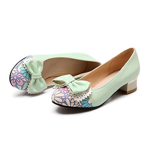 VogueZone009 Damen Rund Zehe Niedriger Absatz Lackleder Gemischte Farbe Ziehen auf Pumps Schuhe Grün