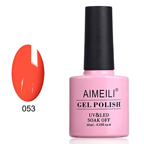 AIMEILI Soak Off UV LED Gel Nail Polish - Neon Orange Zest (053) 10ml