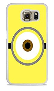 Trendy Accessories Funny Minion Eye Yellow Design Pattern Print White Hardshell Case for Samsung Galaxy S6 EDGE