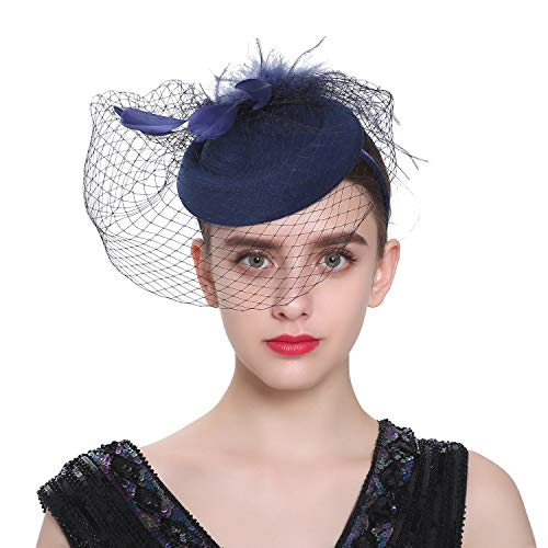 Zivyes Fascinator Hats for Women Pillbox Hat with Veil Headband and a Forked Clip Tea Party Headwear (F-Navy) ()