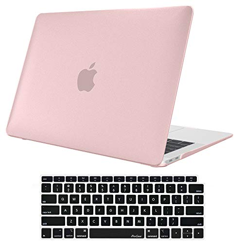 ProCase MacBook Air 13 Inch Case 2019 2018 Release A1932, Rubber Coated Hard Shell Case for MacBook Air 13-inch Model A1932 with Keyboard Skin Cover -Clear Pink