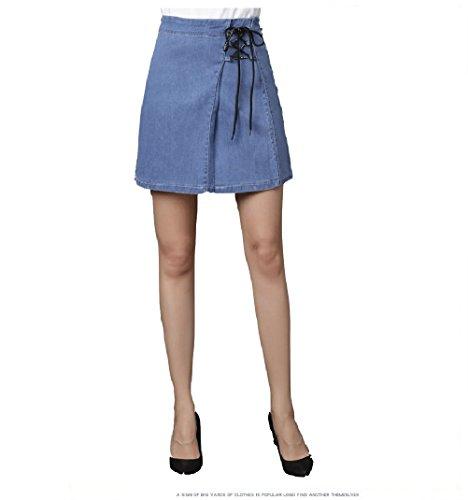 avec Slim Jupe Femme Cordon Jupe Oudan Taille Clair Haute Jean Bleu Crayon Courte Mini en PBqxv