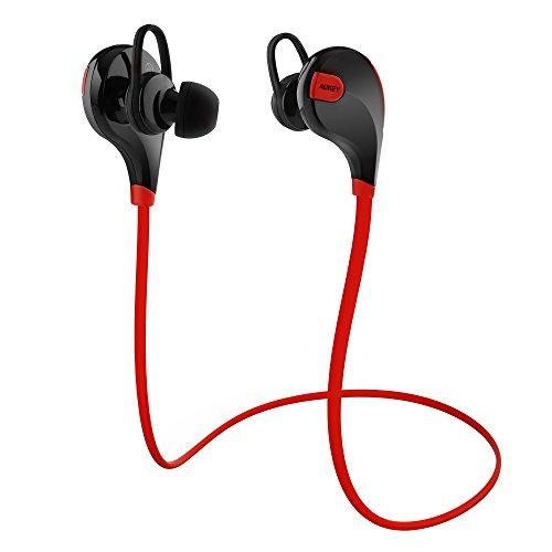 AUKEY Bluetooth Kopfhörer 4.1 Sport Kopfhörer In Ear Stereo Ohrhörer mit Mikrofon für iOS und Android Handys iPad Laptops Tablet, EP-B4 (Rot)