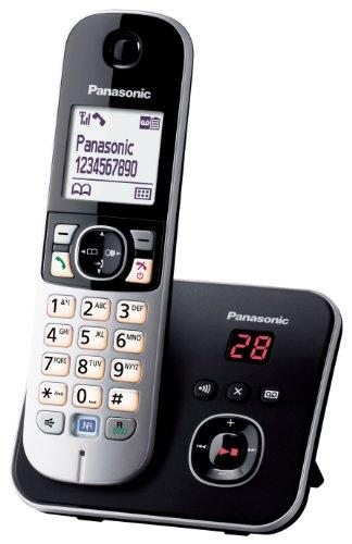 Panasonic KX-TG6821GB DECT-Schnurlostelefon (4,6 cm (1,8 Zoll) Grafik-Display) mit Anrufbeantworter schwarz