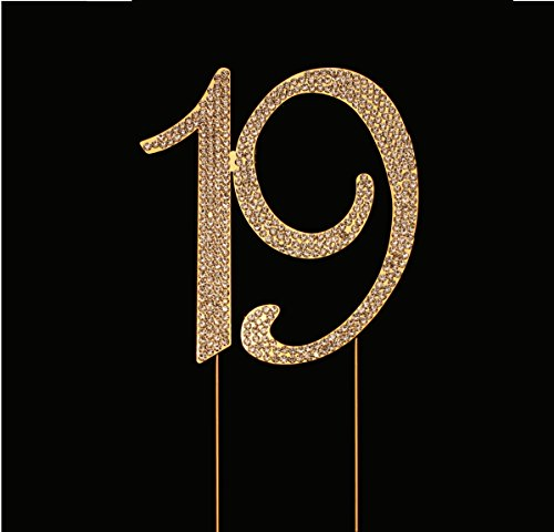 Number 19 for 19th Birthday Cake Topper, 19th Anniversary Cake Topper, 19th Birthday Party Decorations, Joint Gold, 4.5 Inches -