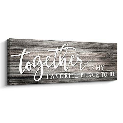 Together is My Favorite Place to Be Rustic Wood Color Canvas Wall Art Print Sign 6x17 (Together, Grey)