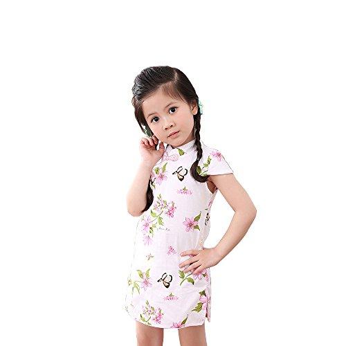 Bear Kids Girls Cheongsam Dress Chinese Qipao (120cm, sakura) -