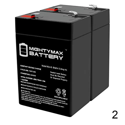 Mighty Max Battery ML4-6 - 6V 4.5AH Replacement Battery for YT-645 with F1 Terminal - 2 Pack Brand Product