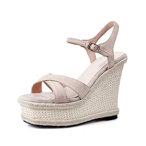 Partido Hoesczs Cuero Beige Mujeres Del Moda Zapatos Verano Nueva Tacones Sandalias Altos Cuña Vaca Mujer Gamuza Plataforma De Las qCRqZ