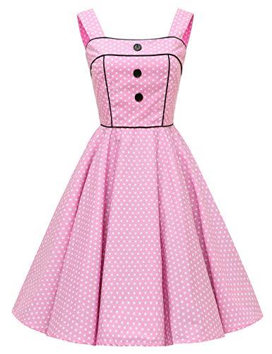 Vestido de cuadros VKStar® Rockabilly, estilo Vintage sin mangas, con cerezas, vestido de noche Rosa