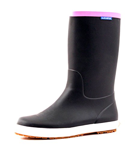 Black Wellies - Luckers Women's Trendy Foldable Wellies Rain Boots (8 B(M) US, Black)