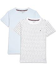 Tommy Hilfiger Girl's 2P Tee S/S Print T-shirt, Color:Klu/Cursive/Aop/Luminous Blue, Size:10-12