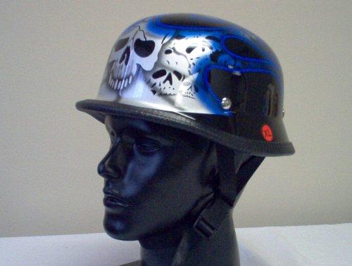 German Blue Tribal Flame Skull Biker Novelty Helmet XXL