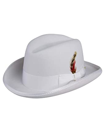 6d0c5c544 Godfather Homburg Fedora Hat in White at Amazon Men's Clothing store: