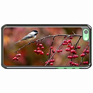 iPhone 5C Black Hardshell Case chickadee titmouse branch berries autumn Desin Images Protector Back Cover