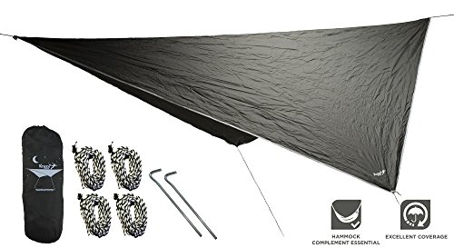 Krazy Outdoors Hammock Rain Fly - Extra Strong Rain Tarp with 70D Polyester RipStop Quality - Strong Ropes and Pegs & Carrying Pouch - Protects Hammock from Sun, provides shade - by (Dark Green)