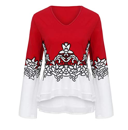 iDWZA Fashion Women Plus Size Flower Lace Color Block Chiffion V-Neck Flare Sleeve Blouse Top(Red,US M/CN L) -