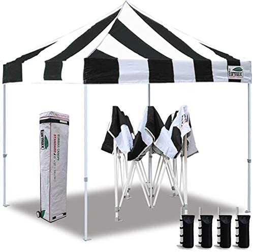 Eurmax 10 x10 Ez Pop Up Canopy Tent Commercial Instant Canopies with Heavy Duty Roller Bag,Bonus 4 Sand Weights Bags Striped Black