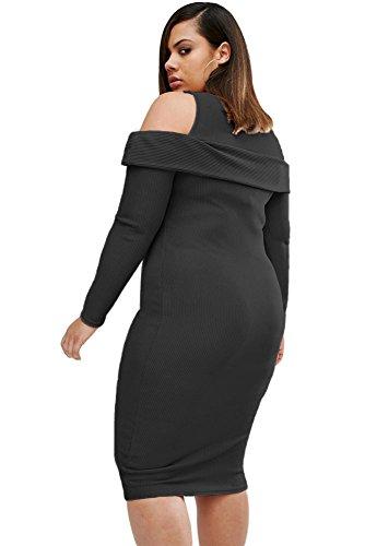 Neue Damen Plus Größe Schwarz gerippt Midi Kleid Casual Abend Party Cocktail Cruise Kleid Plus Größe Kleider XXXL UK 16�?8EU 44�?6