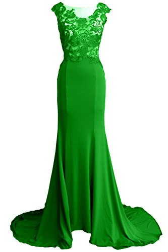 MACloth Women Mermaid Long Prom Dress 2017 Lace Jersey Formal Party ...