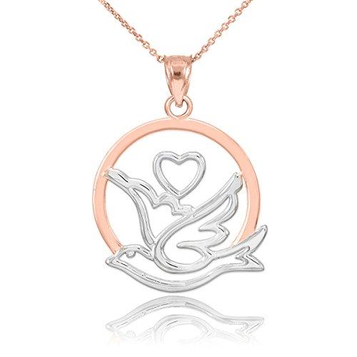 Collier Femme Pendentif Bicolore 10 Ct Or Rose Amour Dove avec Cœur (Livré avec une 45cm Chaîne)