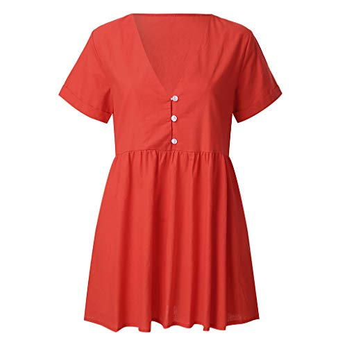 Casual Dress,Womens Elegant Dress A Line Cap Sleeve V Neck Red