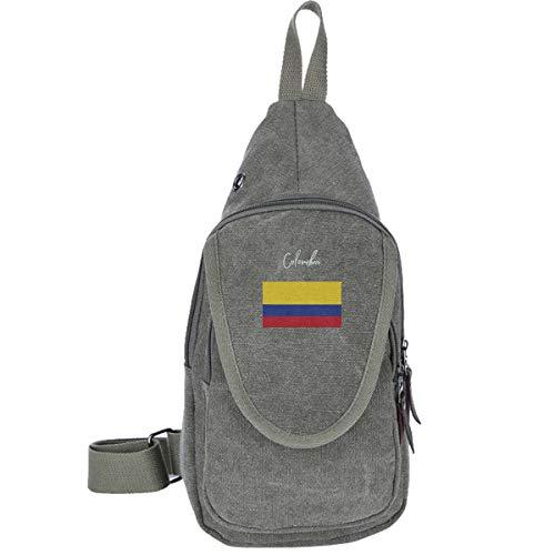 (Colombia Flag Canvas Sling Bag Chest Bag For Student Multipurpose Hiking Shoulder Bag)