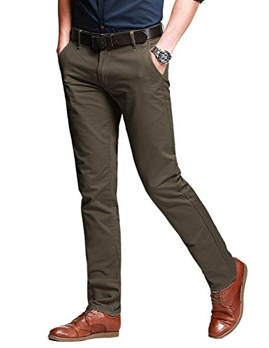 Leg Homme8025 8110 Pale Casual Slim Brown Tapered Match Pantalon Fit Pour Marron light Chino thQrds