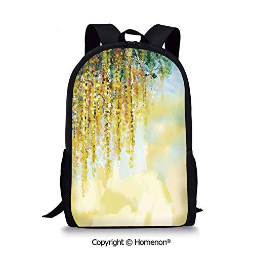 Yellow Light Blue Green,design Boys Girls School Bag Rucksack Durable Bookbag Te