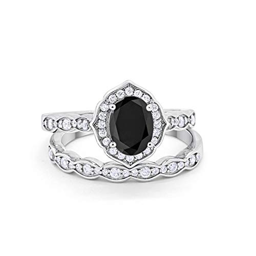 Blue Apple Co. Two Piece Art Deco Vintage Style Wedding Engagement Bridal Set Ring Band Oval Round Simulated Black Cubic Zirconia 925 Sterling Silver Size-6