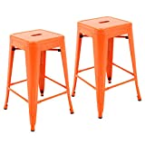 """Porthos Home ZFC002B ORG Stackable Indoor & Outdoor Metal Patio Counter Stool, 24"""" Seat Height (Set of 2) Bar, One Size, Orange"""