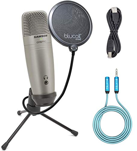 (Samson C01U Pro Supercardioid Microphone USB for VoIP/Studio Recording Bundle with Blucoil Pop Filter and 6-Ft Audio Extension Cable)
