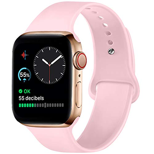 ATUP Compatible with for Apple Watch Replacement Band 38mm 40mm 42mm 44mm Women Men, Soft Silicone Band Compatible with for iWatch Series 4, 3, 2, 1 (Pink, 42mm/44mm-M/L)