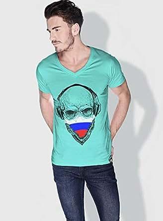 Creo Russia Skull T-Shirts For Men - Xl, Green