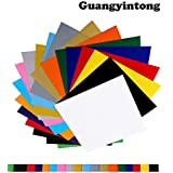 """Guangyintong Heat Transfer Vinyl Bundle 20 Pack 11.8""""x11.8""""- PVC No Adhesive HTV Iron on Vinyl Assorted Colors Hot Weed"""