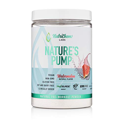 Nature's Pump Pre-Workout - Natural Vegan Pre-Workout for Increasing Clean Energy, Nitric Oxide Booster & Performance - Clinically Dosed S7, NeuroFactor Nootropic, Instaminos BCAAs - 20 Servings