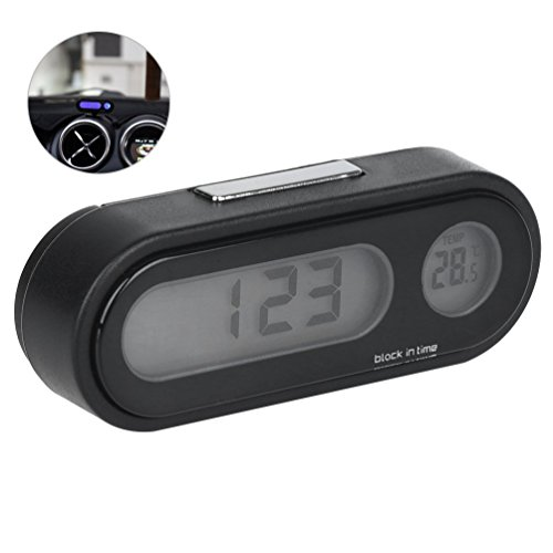 Automotive Rumfo Car Auto LCD Display 2 In 1 Mini Car Digital Clock Thermometer Time Monitor Portable Electronic Clip-On LED Backlight