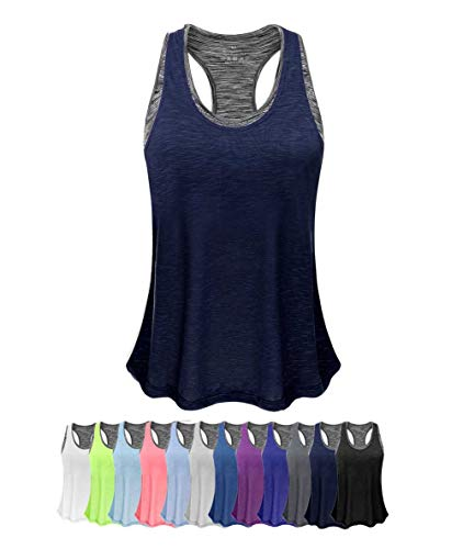 (Women Tank Top with Built in Bra, Lightweight Yoga Camisole for Workout Gym Fitness(Navy&Gray Bra,)