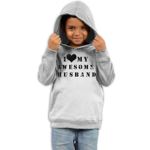 Dmnslm Baby Love My Awesome Husband The Children's Hooded Sweatshirt 5-6 Toddler White