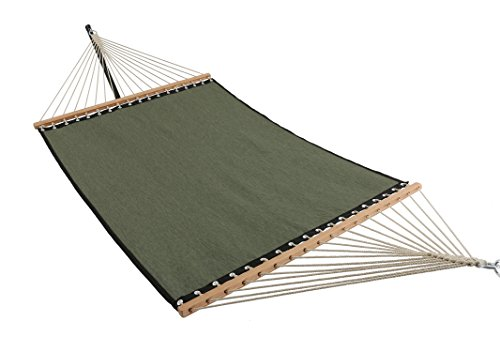 Patio Watcher 11 FT Quick Dry Hammock Bamboo Wood Spreader Bars Outdoor Patio Yard Poolside Hammock with Chain Hanging Kits and Hooks, Waterproof and UV Resistance, Dark Green by Patio Watcher