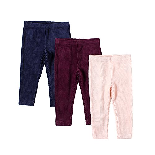 (SNOW DREAMS Baby Girls Basic Corduroy Leggings 3 Pack Pink Burgundy Navy 6M)