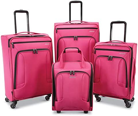 American Tourister 4 Kix Expandable Softside Luggage with Spinner Wheels, Pink, 4-Piece Set RT 21 25 28