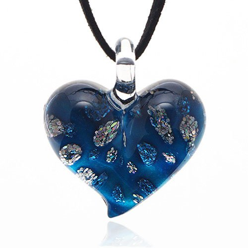 Hand Blown Venetian Murano Glass Blue with Tiny Flowers Pendant Necklace, 18-20 inches