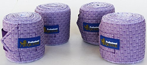 Professional Equine Horse Tack Grooming Leg 4 Pack Polo Wrap Stretchable Padded Soft Purple 95F04