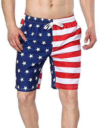 Charmo Male Striped Bathing Trunks Boardshorts Swim American Flag Light Star Pants -