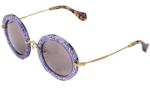 MIU MIU NOIR Round Violet Glitter Lilac Gold Sunglasses (Glitter Womens Sunglasses)