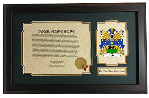 Lodi - Coat of Arms and Last Name History, 14x22 Inches Matted and Framed