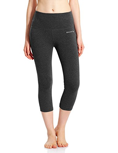 Baleaf Women's High Waist Yoga Capri Leggings Tummy Control Non See-Through Fabric Charcoal Size M - Natural Waist Pocket