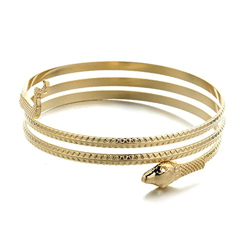 Dwcly Gold Tone Egyptian Spiral Snake Wrap Upper Arm Cuff Armlet Armband Bangle Bracelet (gold)